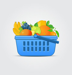 Shopping Basket with Fresh Fruit vector image vector image