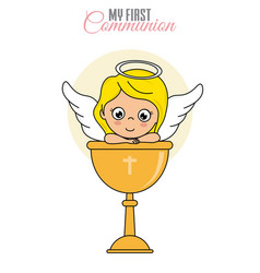 Angel girl with chalice vector