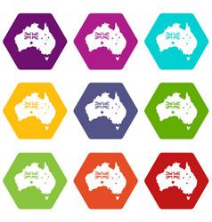 australia icon set color hexahedron vector image