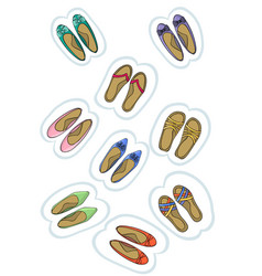 baby shoes sticker labels vector image