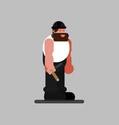 Barberr stands with open razor vector