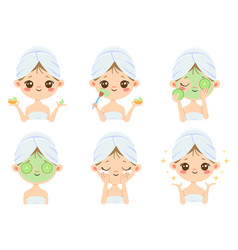 Beauty face mask woman skin care cleaning and vector
