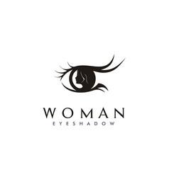 Beauty woman eye eyelash silhouette logo vector