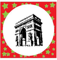 black 8-bit arc de triomphe at paris france vector image