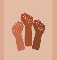 black fist raised feminist power poster graphic vector image