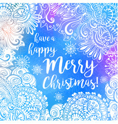 blue and white winter typography poster or card vector image