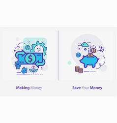 business and finance concept icons making money vector image
