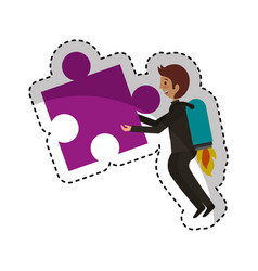 Businessman with puzzle piece avatar character vector