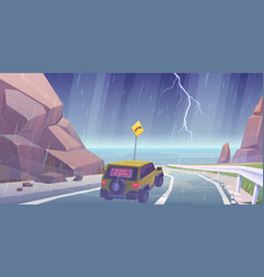 car driving on road to sea beach in rain vector image