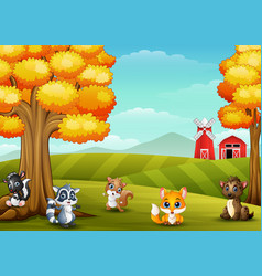 Cartoon animals in farm landscape vector