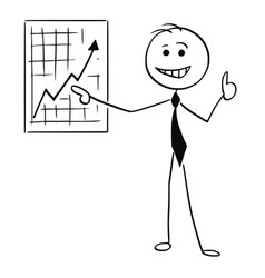 cartoon of smiling business man pointing at wall vector image