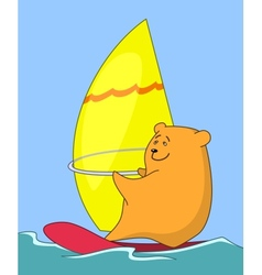 Cartoon teddy bear surfer vector image