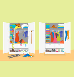 Cartoon untidy and after tidy wardrobe card poster vector