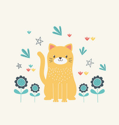 Cat cartoon and flowers design vector