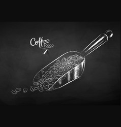 Chalk drawn sketch metal coffee scoop vector