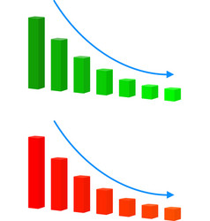 Chart with bars declining icon decrease vector