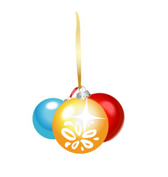 christmas colored glass balls with ribbon olated vector image