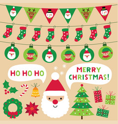 christmas decoration and design elements set vector image