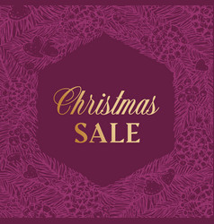 christmas sale discount hand drawn sketch pine or vector image