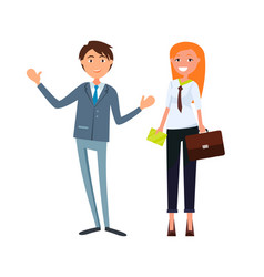 Colleagues male and female business cartoon worker vector