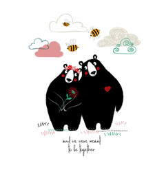 Couple of cute hugging bears vector