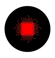 CPU Microprocessor Red icon vector image