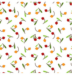 cute berry with leaves seamless pattern vector image