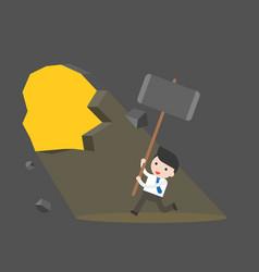 Cute businessman use giant hammer destroy the vector
