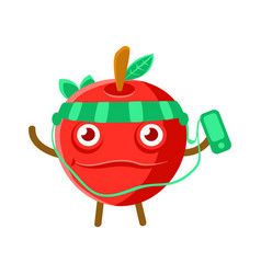 cute cartoon happy red apple listening to the vector image