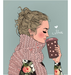 Cute winter girl with coffee cup vector