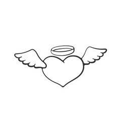 doodle angel heart with wings vector image