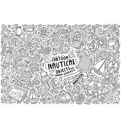 doodle cartoon set nautical objects vector image