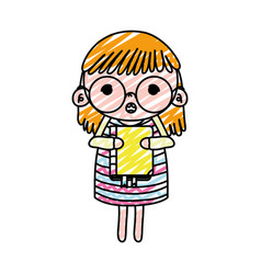 Doodle girl child with glasses and education book vector