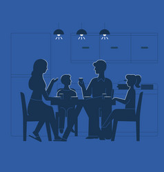 Family at dinner table vector