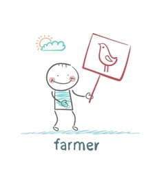 farmer holding a poster with chicken vector image