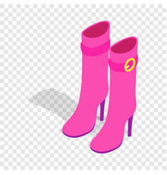 female pink high boots isometric icon vector image
