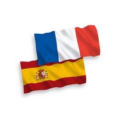 Flags france and spain on a white background vector