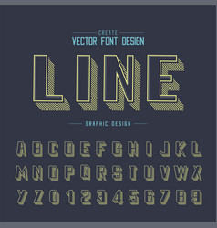 font and alphabet line shadow bold typeface vector image