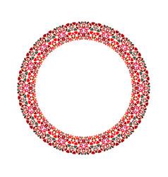 Geometrical abstract stone mosaic circular frame vector