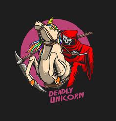 grim reaperunicorn with grim reaper v vector image