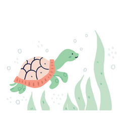hand drawn turtle underwater vector image