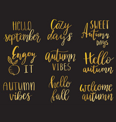 hello autumn set vector image
