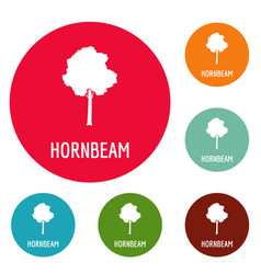 hornbeam tree icons circle set vector image