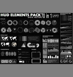 hud elements pack 70 elements vector image