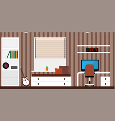 interior room with a bed a computer desk a vector image