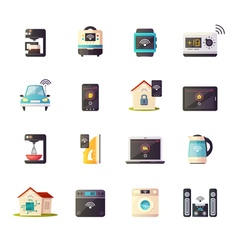 Internet Of Things Retro Icons Set vector image