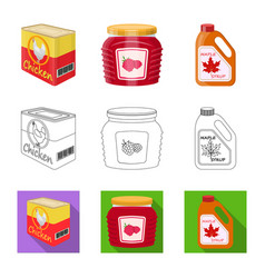 isolated object can and food icon set can vector image