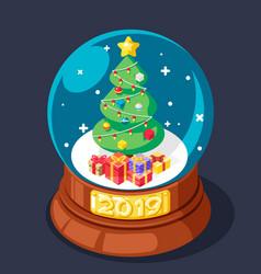 Isometric 2019 chrismas tree gift box glass ball vector