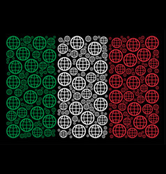 italian flag pattern of globe icons vector image