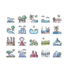 landscape outline color icons set vector image